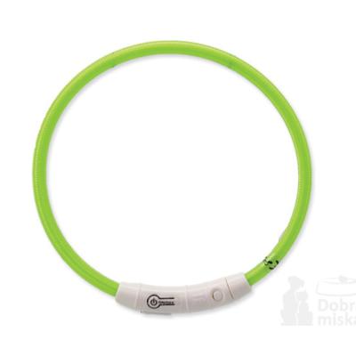 Obojek DOG FANTASY světelný USB zelený