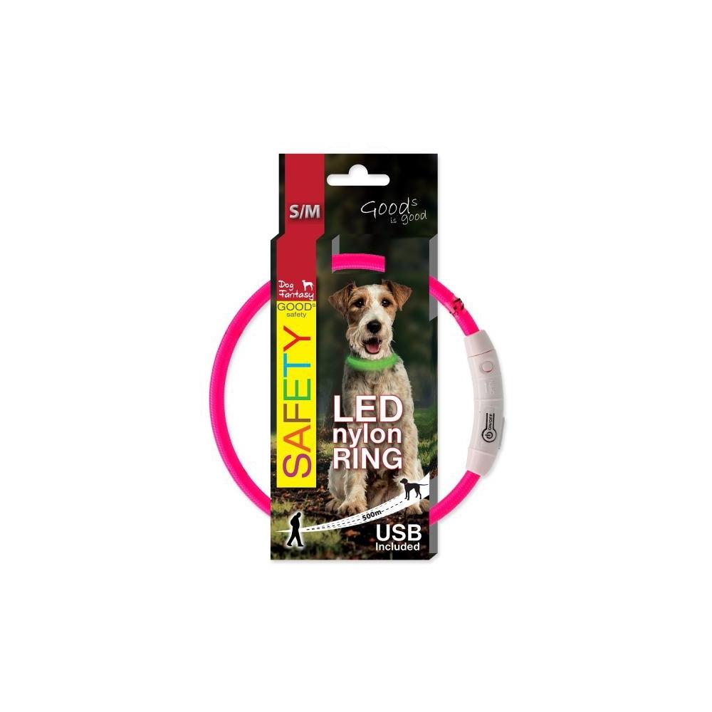Obojek DOG FANTASY světelný USB růžový